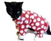 Polkadot Fleece Cat Pajamas   Several Colors Available cat clothes pet clothing cat clothing pet clothes