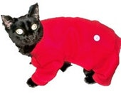 Cat Pajamas Cat Clothes Red Fleece Trapdoor Cat Pajamas pet clothing cat clothing pet clothes