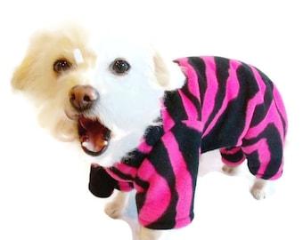 Hot Pink and Black Fleece Dog Pajamas-Hot Pink Dog Pajamas-Dog clothes-Fleece Dog Onesie-Pajamas for Dogs-Clothes for Dogs-Onesies for Dogs
