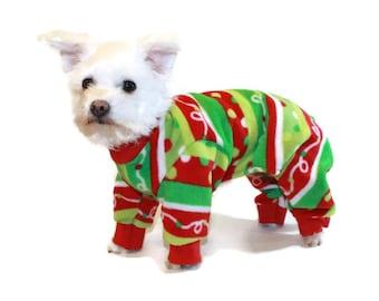 Red Polka Dot Fleece Dog Pajamas-Polka Dot Dog Pajamas-Dog