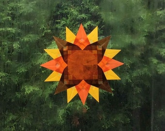 Autumn Window Transparency - Fall Suncatcher Window Star - Waldorf Inspired