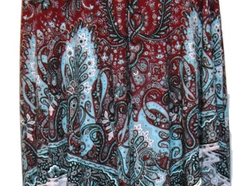 Women's Plus Stretch Handkerchief Skirt in Aqua & Burgundy Paisley