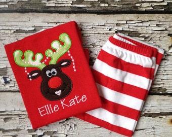 Red Christmas Pajamas - Girl Reindeer Pjs - Red/White Striped Pajamas - Christmas Reindeer Outfit