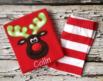 Red Christmas Pajamas - Reindeer Pjs - Red/White Striped Pajamas for a Child - Christmas Boy Reindeer Outfit