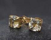 18K Gold Stud Earrings - Green Amethyst Stud Earrings - Cushion Cut Earrings - 18K Green Amethyst Earrings -  Green Gemstone Gold Earrings