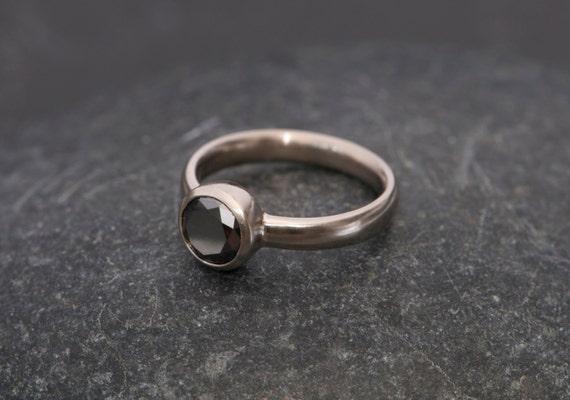 Black diamond ring 18k gold black diamond engagement ring