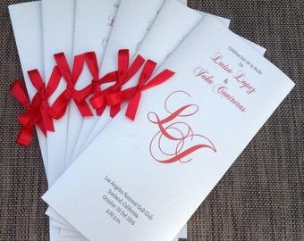 Metallic White and Red Bifold Wedding Program