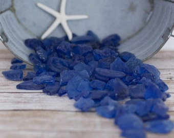 Sea Glass Blue Tumbled-Sea Glass 1 lb Bulk-Man Made Blue Sea Glass- Blue Sea Glass-Beach Wedding Decor- Blue Sea Glass Bulk-Craft Supplies