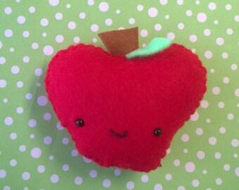 Kawaii Red Apple Plush Stuffed Animal Doll Birthday Cloth Plushie Soft Softie Cute Ooak Gift Holiday Small Party Halloween