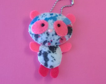 Panda Bear Keychain Stuffed Animal Plush Plushie Softie Cute Pet Ooak Small Charm Cute