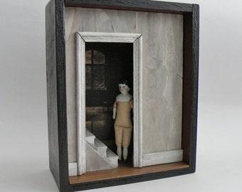 Curiosity Box, Antique doll, Shadow Box Cabinet, Assemblage - DOORWAY - Memento Mori