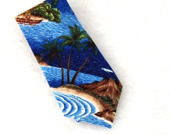 Vintage Mens Tie KY's Hawaiian 100% Cotton Island Scene Ocean BlueMade in Hawaii 1980s