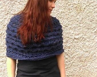 Navy Crochet Poncho Handmade Chunky Cabled Aran Knit