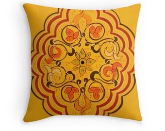 Pillow Cover, Moroccan Door Design, Floral Art, Travel Photography, Boho Home Decor, Ethnic, Bohemian Style Throw Pillow Case, Ochre, Yellow