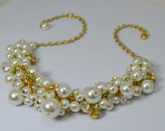Golden Pearl Necklace, Ivory and White Pearl Necklace with Crystals and Rhinestones, Cluster Necklace, Bridal Jewelry, Bridesmaid Necklace