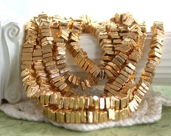 3mm Gold Plated Brass Spacers, Square Rondelles, Flat Square Spacer Beads, Bright Gold Spacers, Cast Brass Beads, Metal Spacer Beads MB-067
