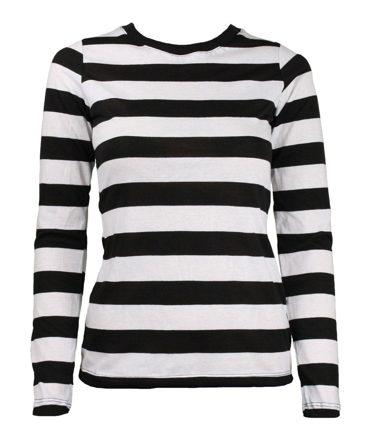 women 39 s long sleeve black white striped shirt by skirtstar
