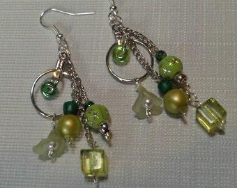 Long  Green  Dangling Hoops and Chain Earrings, Multi Chain Green Bead Earrings, Spring/ Summer Earrings SALE, Jewelry Sale