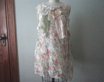 Boho Tunic Top, Floaty Top, Upcycled Chiffon and Lace Tank, Flower Tank Top, Altered Couture, Pink Tunic Top, Festival Tank, Handmade  OOAK