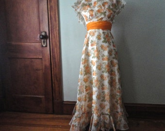 Vintage Bridesmaids Party Dress, Southern Belle Long Dress, Size 4, Orange Roses, Ruffles,Long Boho Vintage Dress, Prom Dress, Ruffly Dress