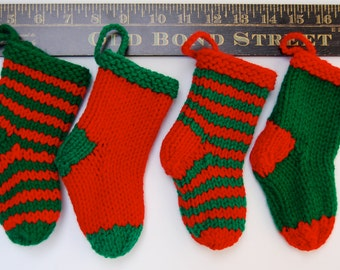 Mini Christmas Stockings, set of 4 small stockings, mini green stocking, mini red stocking, striped stocking knit, knit Christmas ornament
