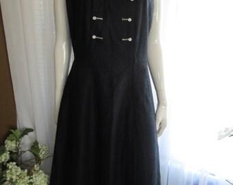 50s Ladies Black Big Girl Sleeveless Circle Skirt DRESS by POODLIN