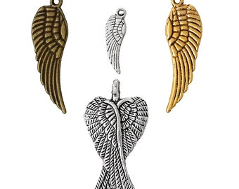 50 Wing Pendants - 30x9mm to 17x5mm - Assorted - Ships IMMEDIATELY from California - SC1168