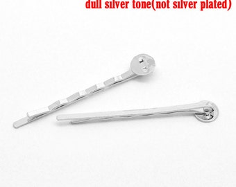 100 Silver Bobby Pins - WHOLESALE - Antique Silver - Wave - Barrette Clips -  8mm Pad - 50x8mm - Ships IMMEDIATELY from California - HF52b