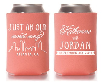 Custom Wedding Favor - Atlanta Skyline - Just an Old Sweet Song Can Coolers