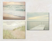 Bathroom Wall Decor, Set of Three Photograph, Grey Lake House Artwork Set, Ocean Photography, Neutral Wall Art, Sunset Beach Picture Set