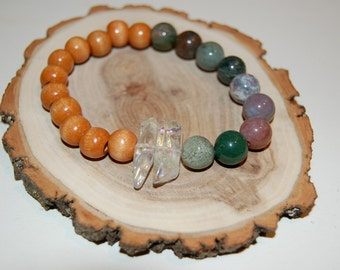 Wood, Indian Agate, and Quartz Bracelet