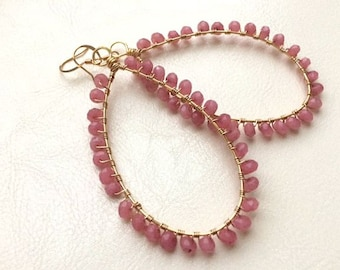 Cherry Quartz, Wire-Wrapped, Teardrop Earrings