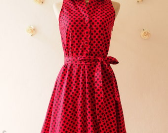 SALE Polka Dot Dress Shirt Dress Red Black Dot Party Dress Red Summer Dress Bridesmaid Dress Shirt Vintage Inspired Sundress  -Size XL