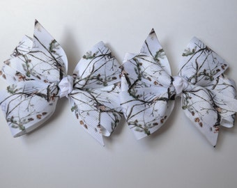Set of Two White Camo Real Tree Mossy Oak Camo Hair Bows