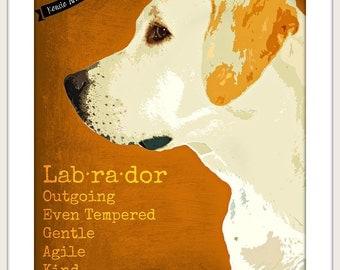 Yellow Labrador Retriever Printable  Dog Art Print  With Quote