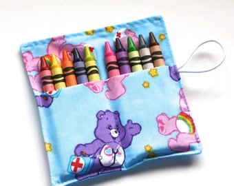 Crayon Rolls made from Care Bears fabric, holds up to 10 Crayons, Birthday Party Favors