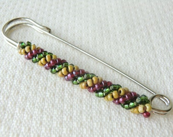 Autumn Color Safety Pin Brooch Knit Scarf Brooch Pin Winter Kilt Pin Seed Bead Brooch Beaded Shawl Pin Decorative Brooch