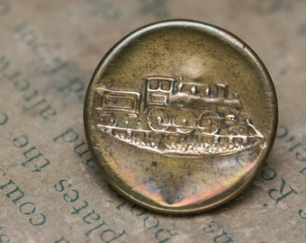 Vintage ot Antique Railroad Button - Train - Uniform Button