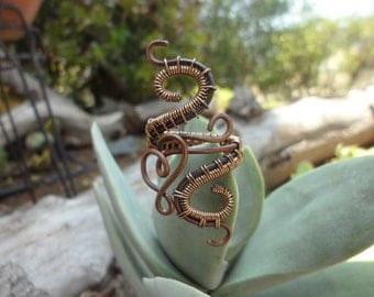 Copper Gold Wire Wrapped Ring Size 8 9 10 1/2 Heart Love Handmade Healing Jewelry Goth Steam Punk Snake