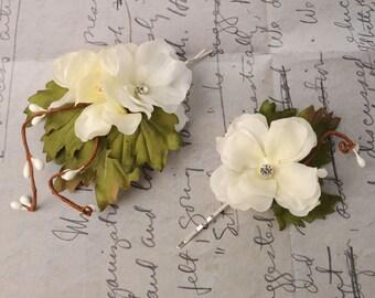 Wedding Hair Pins, Ivory Flower Bobby Pins, Woodland Hair Pieces, Bridal Hair Accessories, Floral Head Pieces, Rustic Flower Headpiece Pins