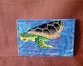 Sea Turtle Fabric Postcard