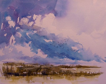 """Original watercolor painting of birds rising from the marsh. 11.5' x 14.5"""" mounted on 16""""x20"""" archival rag matboard"""