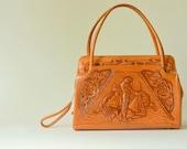 tooled leather purse - mexico - handbag