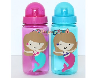 Cute Mermaid - 15oz Personalized Sports Water Bottle - For Kids - Party Favors, Gifts - Fun Colors