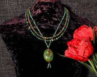 Multi Strand Turquoise Necklace, Multi Strand Statement Necklace, Multi Layer Necklace, Chunky Turquoise Necklace, Turquoise Nugget