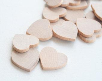 "25 Miniature Wooden Hearts 1"""