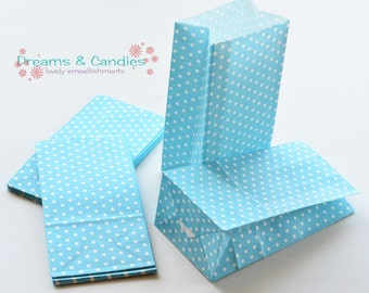 "50 Patterned Mini Blue Dots Paper Bags with Gusset Size 3-5/8"" X 2-1/4"" X 7"" -Candy Bags -Birthday Paper Bags -Blue Paper bags -Favor Bags"