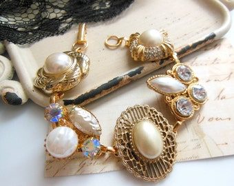 Repurposed Vintage Victorian Glam Crystal Rhinestone Gold Pearl Charm Bracelet