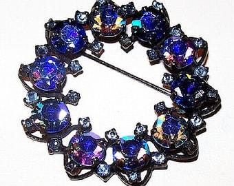 """Blue Heliotrope Brooch Pin Joseph Warner Rhinestones Japanned Black Metal Wreath 2"""" Vintage"""