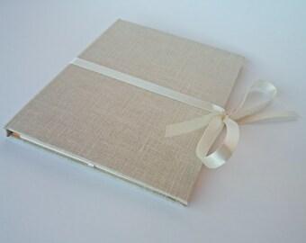 Photo case packaging for photographer - linen cd cover - photo holder - portfolio - cream orange beige case